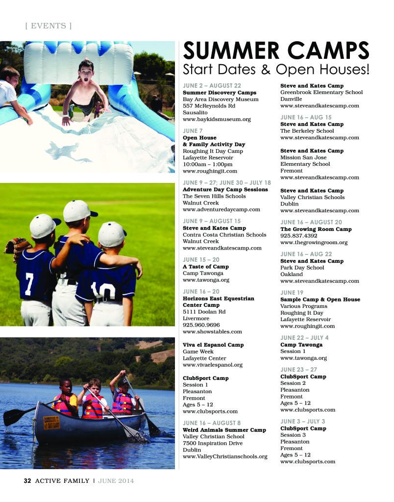 Summer Camp Start Dates